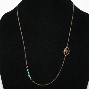 Beautiful gold leaf and turquoise necklace